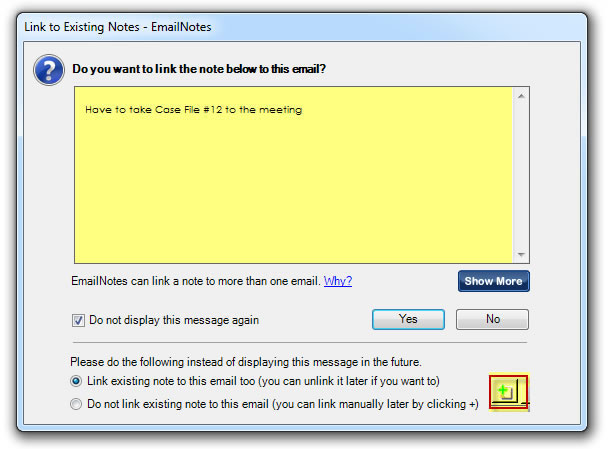 Email Note: Auto-link Prompt